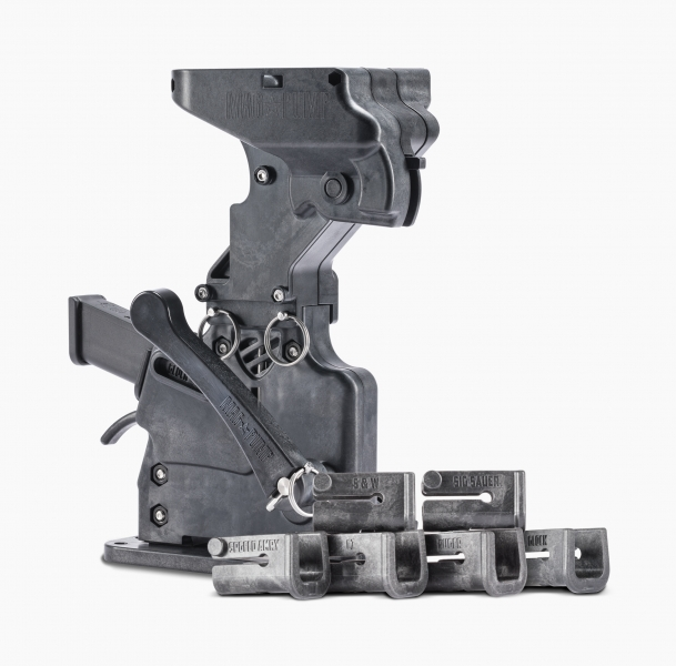 MagPump 9mm Luger magazine loader with six magazine retainers including Glock, SIG, Smith & Wesson, Ruger, CZ, Springfield Armory